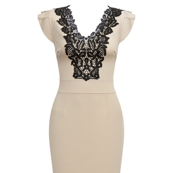Cream Black Lace Dress Sz 14 Nwt